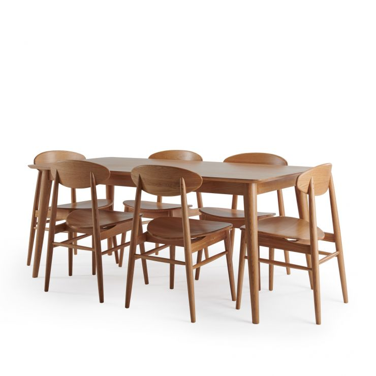Oscar Natural Solid Oak 6 Seater Table with 6 Oscar Chairs