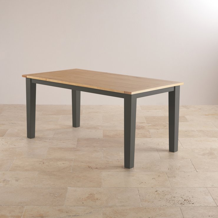 """Padstow Natural Oak and Slate Grey Painted 5ft 6"""" x 3ft Dining Table"""