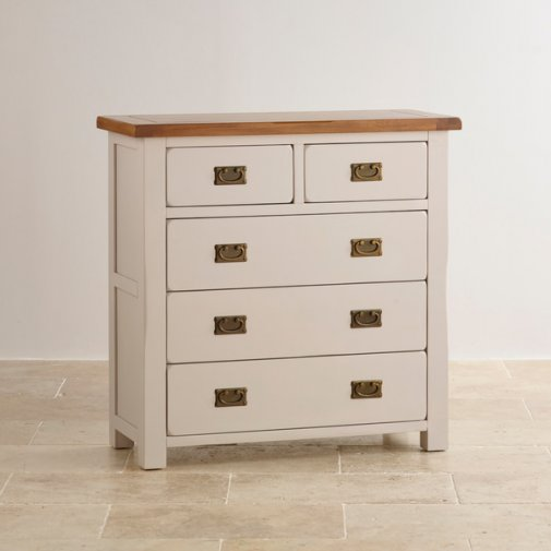 Kemble Rustic Solid Oak and Painted 3+2 Chest of Drawers