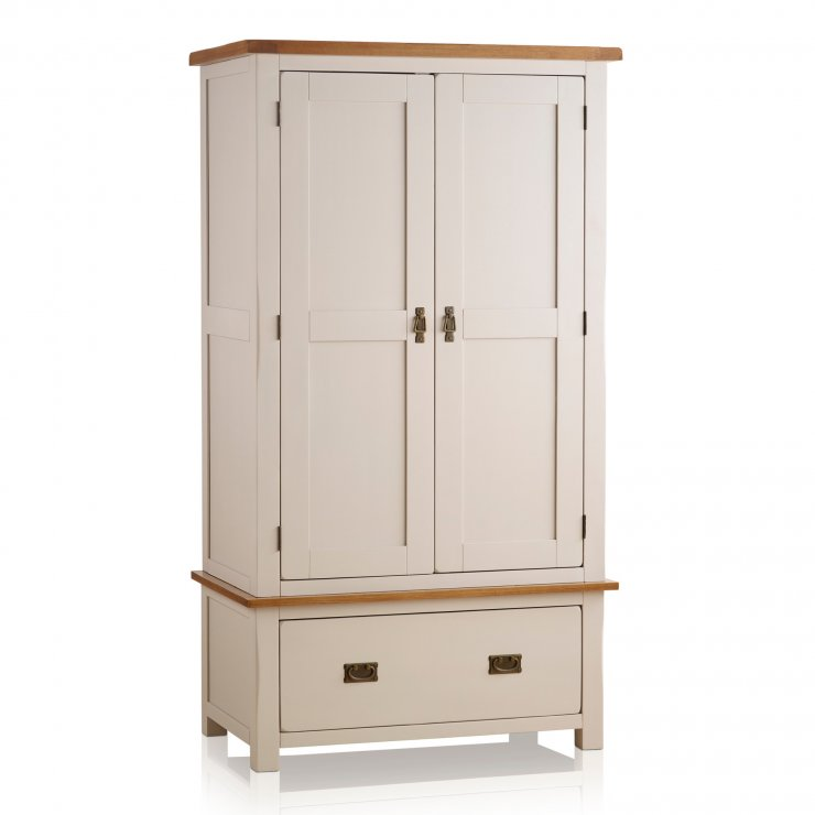 Kemble Rustic Solid Oak and Painted Double Wardrobe - Image 5