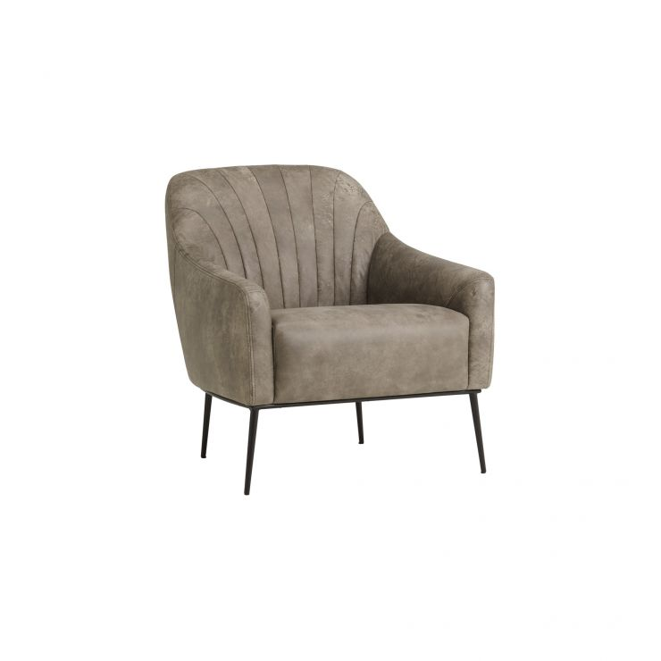 Panama Mid Grey Leather Accent Chair