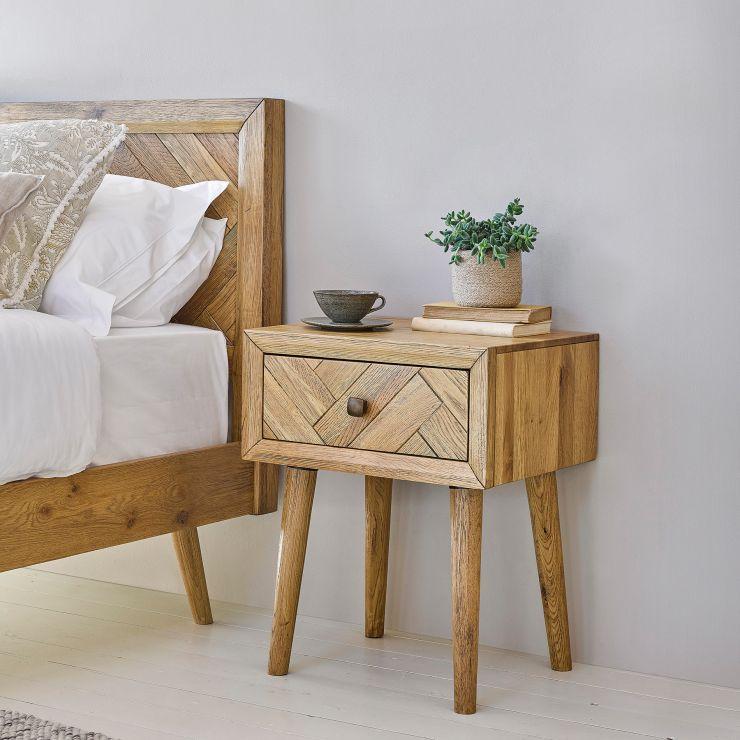 Parquet Brushed and Glazed Oak 1 Drawer Bedside Table