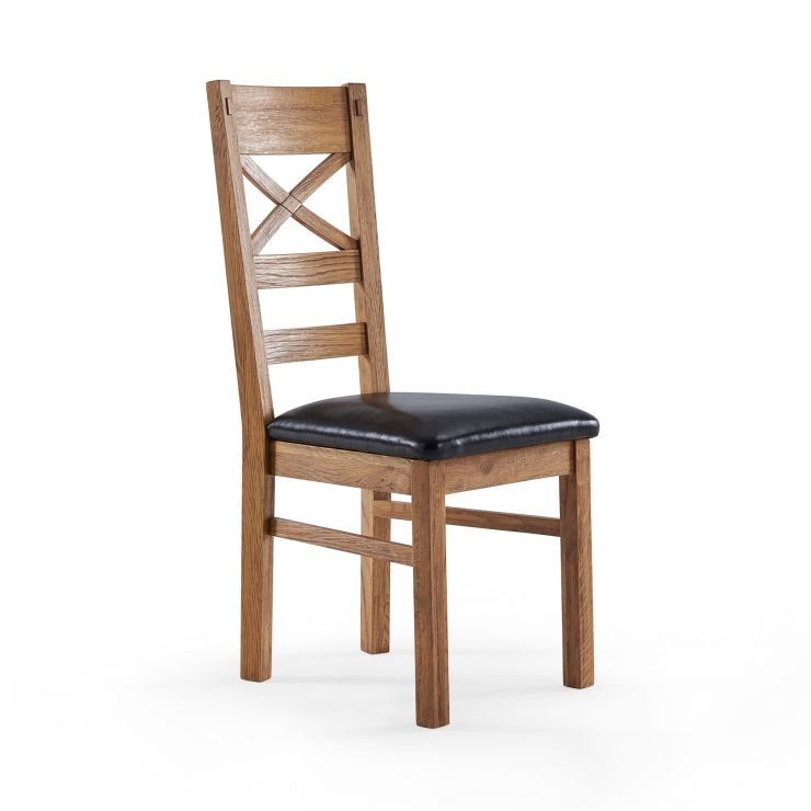 Parquet Brushed and Glazed Oak Black Leather Dining Chair - Image 1