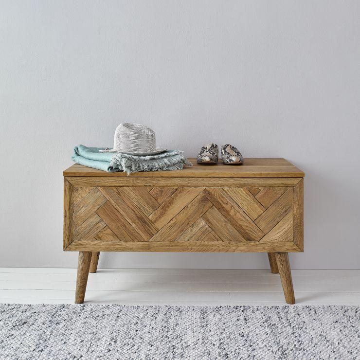 Parquet Brushed and Glazed Oak Blanket Box
