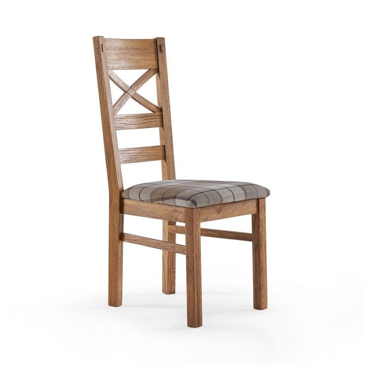 Parquet Brushed and Glazed Oak Check Brown Fabric Dining Chair