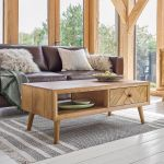 Parquet Brushed and Glazed Oak Coffee Table - Thumbnail 1