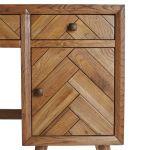 Parquet Brushed and Glazed Oak Computer Desk - Thumbnail 2