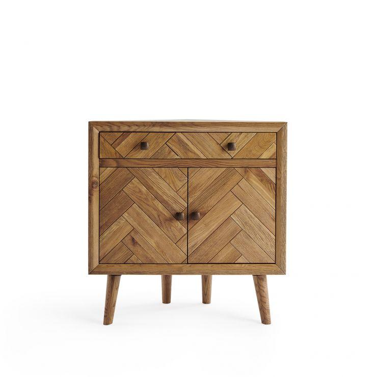 Parquet Brushed and Glazed Oak Corner Sideboard