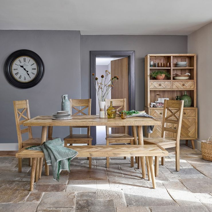 Parquet Brushed and Glazed Oak Dining Set with 1 Parquet Bench and 4 Parquet Chairs