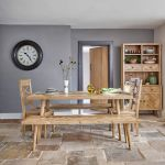 Parquet Brushed and Glazed Oak Dining Set with 2 Parquet Benches and 2 Parquet Chairs - Thumbnail 1