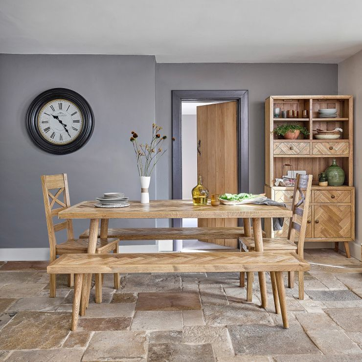 Parquet Brushed and Glazed Oak Dining Set with 2 Parquet Benches and 2 Parquet Chairs
