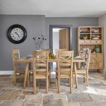 Parquet Brushed and Glazed Oak Dining Set with 6 Parquet Chairs - Thumbnail 1