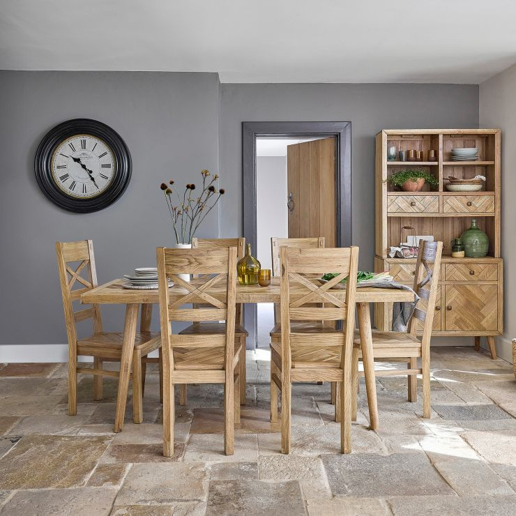 Parquet Brushed and Glazed Oak Dining Set with 6 Parquet Chairs