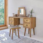 Parquet Brushed and Glazed Oak Dressing Stool - Thumbnail 1