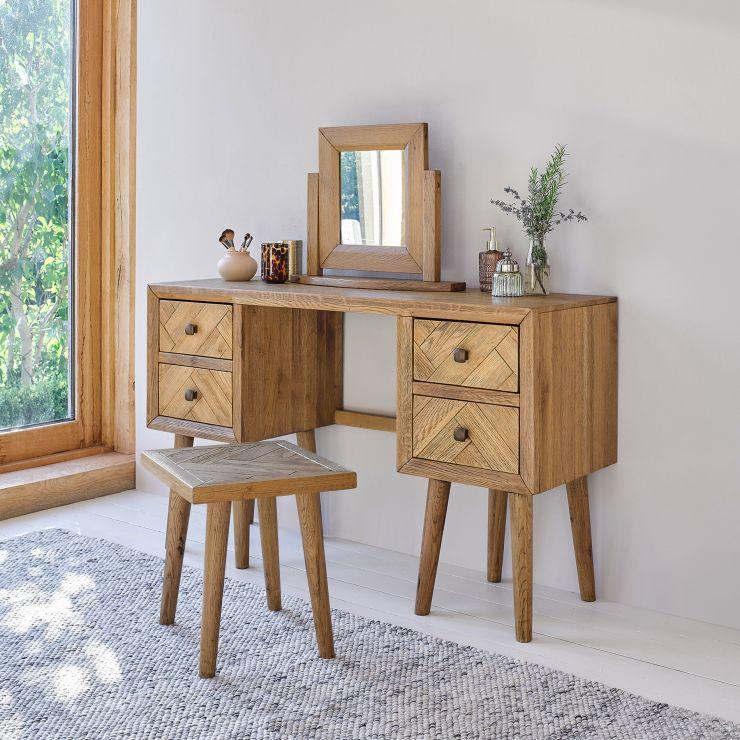 Parquet Brushed and Glazed Oak Dressing Stool