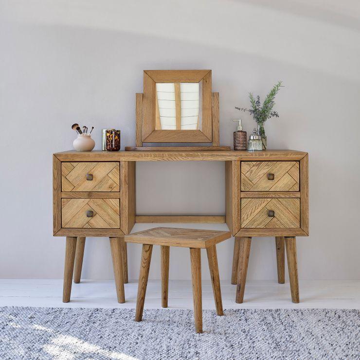 Parquet Brushed and Glazed Oak Dressing Table