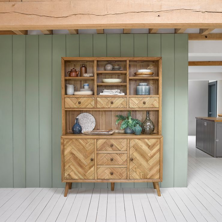 Parquet Brushed and Glazed Oak Large Dresser