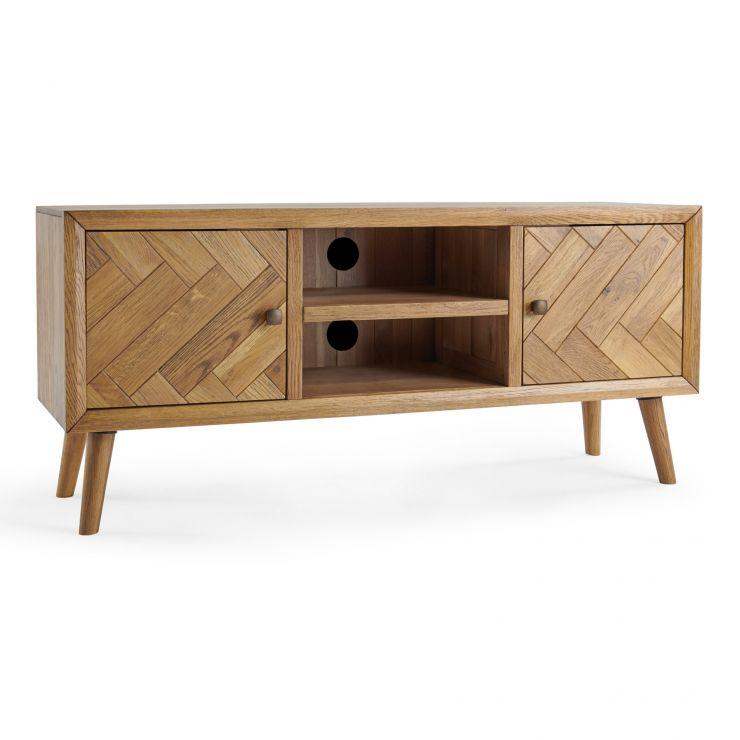 Parquet Brushed and Glazed Oak Large TV Unit