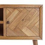 Parquet Brushed and Glazed Oak Large TV Unit - Thumbnail 2
