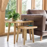 Parquet Brushed and Glazed Oak Nest of 2 Tables - Thumbnail 1