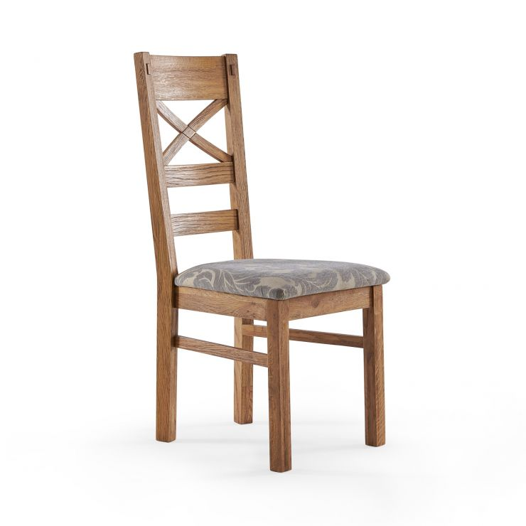 Parquet Brushed and Glazed Oak Patterned Grey Fabric Dining Chair