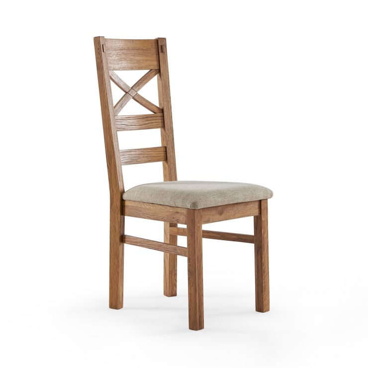 Parquet Brushed and Glazed Oak Plain Beige Fabric Dining Chair