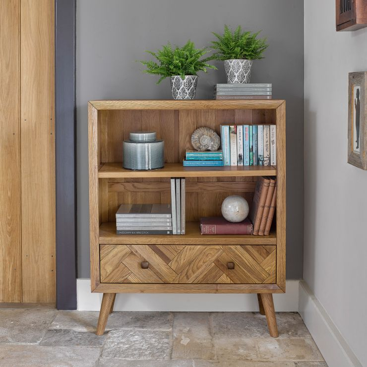 Parquet Brushed and Glazed Oak Small Bookcase