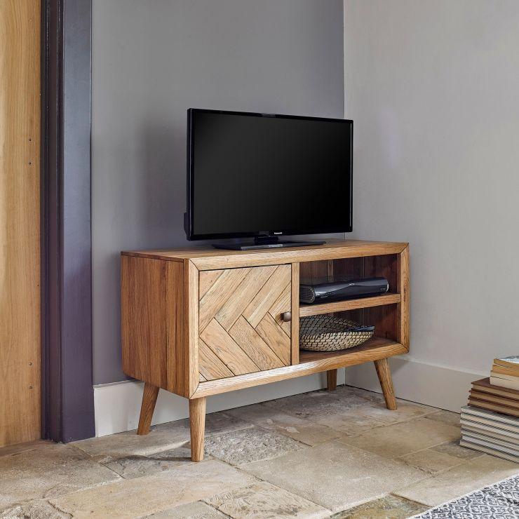 Parquet Brushed and Glazed Oak Small TV Unit