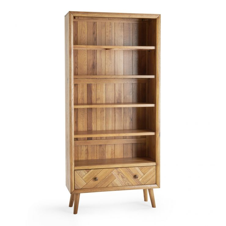 Parquet Brushed and Glazed Oak Tall Bookcase