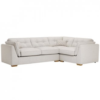 Pasadena Left Hand High Back Corner Sofa in Denzel Pebble with Blockbuster Honey Scatters