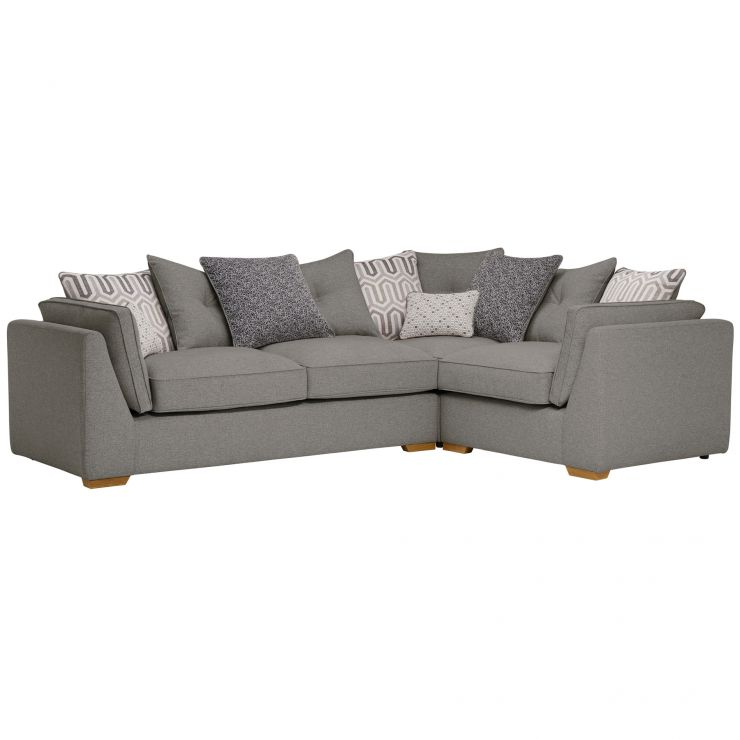Pasadena Left Hand Pillow Back Corner Sofa in Denzel Graphite Blockbuster Slate Scatters