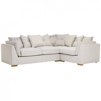 Pasadena Left Hand Pillow Back Corner Sofa in Denzel Pebble with Blockbuster Honey Scatters