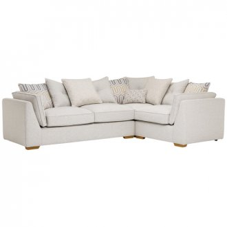 Pasadena Left Hand Pillow Back Corner Sofa in Denzel Pebble with Blockbuster Honey Scatters