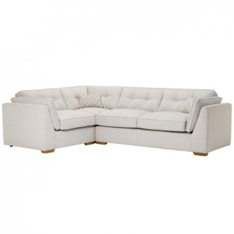 Pasadena Right Hand High Back Corner Sofa in Denzel Pebble with Blockbuster Honey Scatters