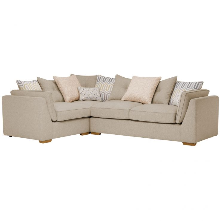 Pasadena Right Hand Pillow Back Corner Sofa in Denzel Natural with Blockbuster Honey Scatters
