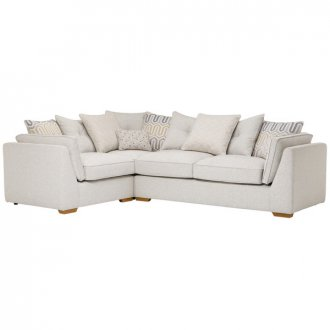 Pasadena Right Hand Pillow Back Corner Sofa in Denzel Pebble with Blockbuster Honey Scatters