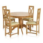 Pedestal Natural Solid Oak Dining Set - 4ft Round Table with 4 Loop Back and Cream Leather Dining Chair - Thumbnail 1