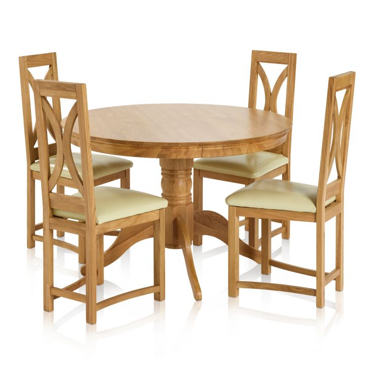 Pedestal Natural Solid Oak Dining Set - 4ft Round Table with 4 Loop Back and Cream Leather Dining Chair