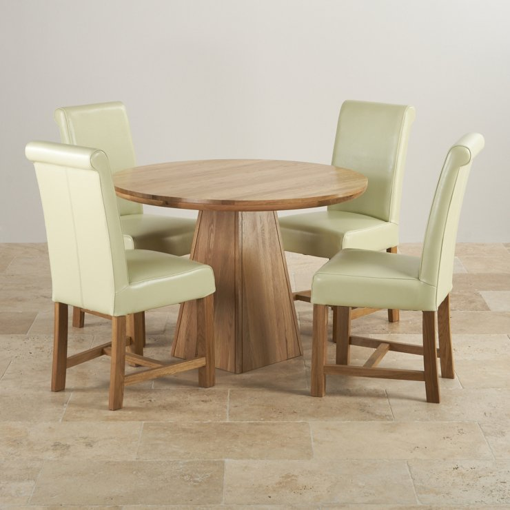 "Provence Natural Solid Oak Dining Set - 3ft 7"" Round Table with 4 Braced Scroll Back Cream Leather Chairs"