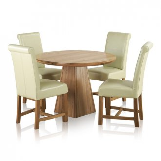 """Provence Natural Solid Oak Dining Set - 3ft 7"""" Round Table with 4 Braced Scroll Back Cream Leather Chairs"""