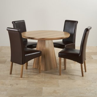 """Provence Natural Solid Oak Dining Set - 3ft 7"""" Round Table with 4 Scroll Back Brown Leather Chairs"""