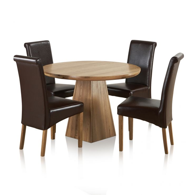 """Provence Natural Solid Oak Dining Set - 3ft 7"""" Round Table with 4 Scroll Back Brown Leather Chairs - Image 6"""