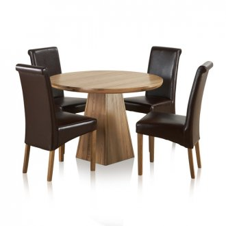 "Provence Natural Solid Oak Dining Set - 3ft 7"" Round Table with 4 Scroll Back Brown Leather Chairs"