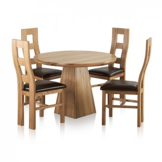 """Provence Natural Solid Oak Dining Set - 3ft 7"""" Round Table with 4 Wave Back and Brown Leather Chairs"""