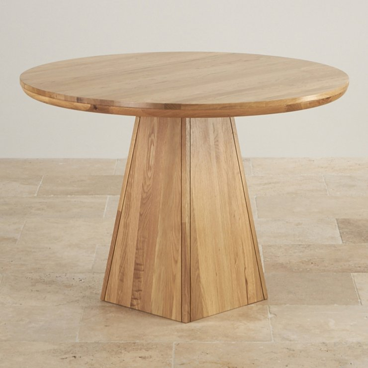"Provence Natural Solid Oak 3ft 7"" Round Table with Pyramid Base"