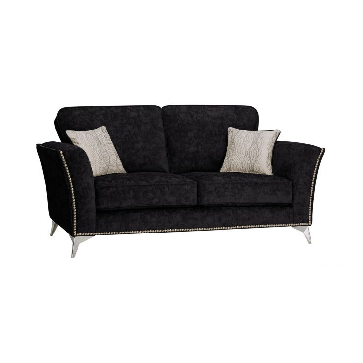 Quartz High Back Black 2 Seater Sofa in Fabric