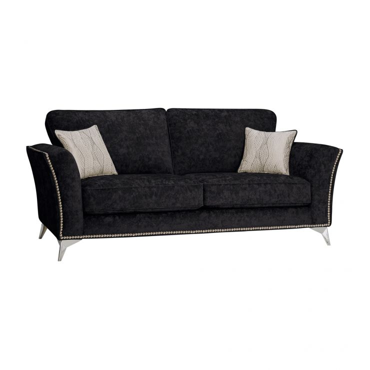 Quartz High Back Black 3 Seater Sofa in Fabric