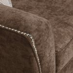 Quartz High Back Chocolate 3 Seater Sofa in Fabric - Thumbnail 6