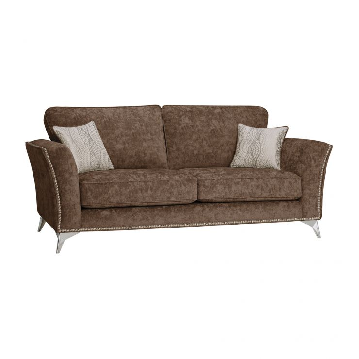 Quartz High Back Chocolate 3 Seater Sofa in Fabric