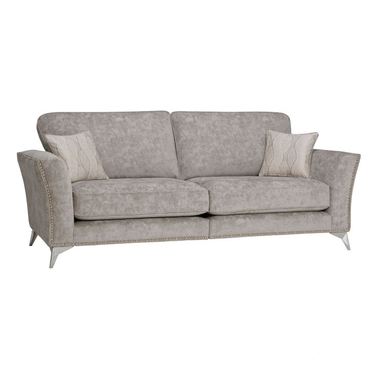 Quartz High Back Nickel 4 Seater Sofa in Fabric - Image 1